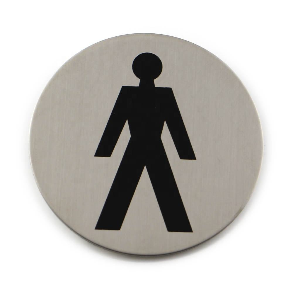 Wholesale 3 Inch Dia Stainless Steel Self Adhesive male WC Door Sign Plate