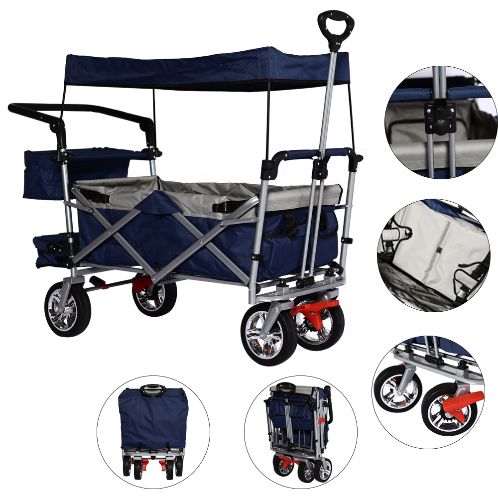 Folding Large Capacity Utility Pull Garden Cart Wagon 4 Wheels With Removable Canopy