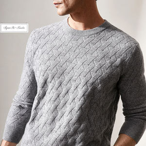 Square Fonda Knitted Crew Neck Sweater Men Oversize Casual Pullover