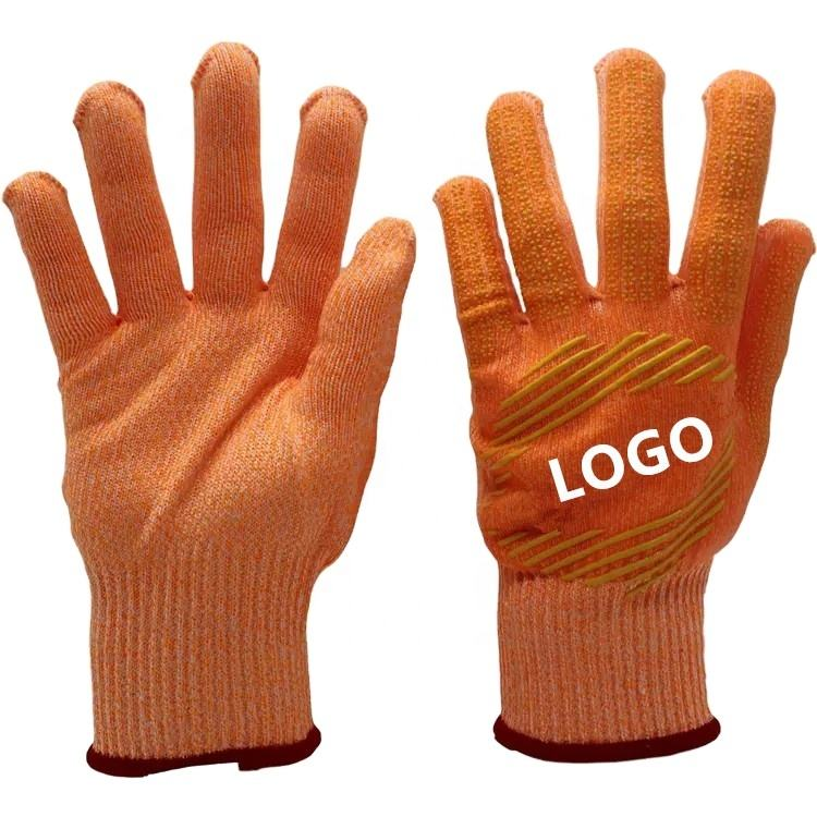 Custom Logo Premium Quality Gardening Orange Protective Working Gloves