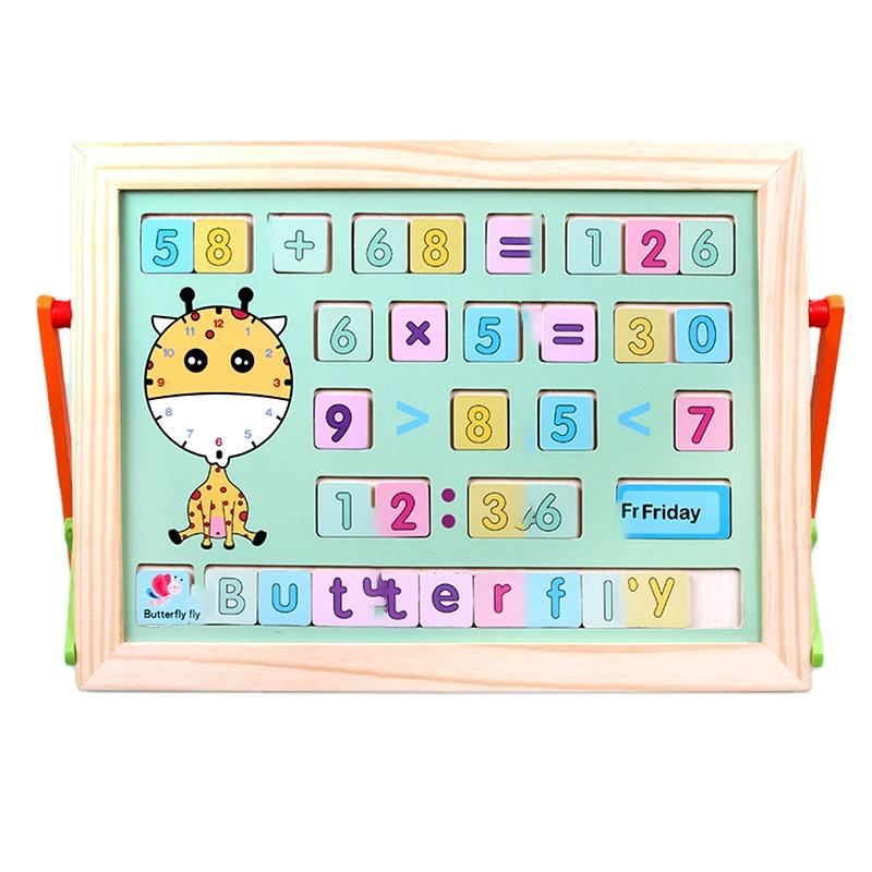 New trending custom cartoon giraffe digital educational wooden learning toys Wholesale wooden digital drawing board for kids