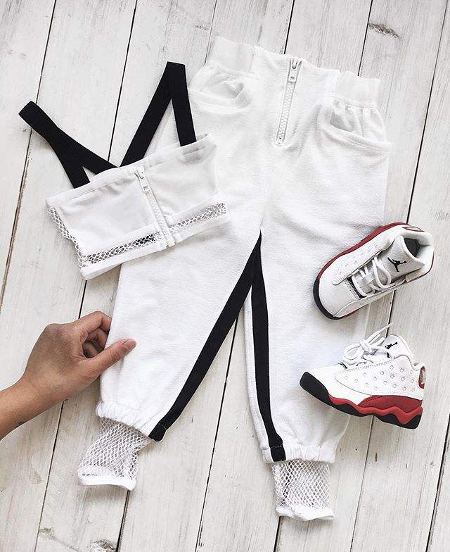 White Children Clothing Girl 2pcs Clothes Outfits Set Girls Solid Color Crop Top T-shirts With Sports Pants and Zipper Outfits