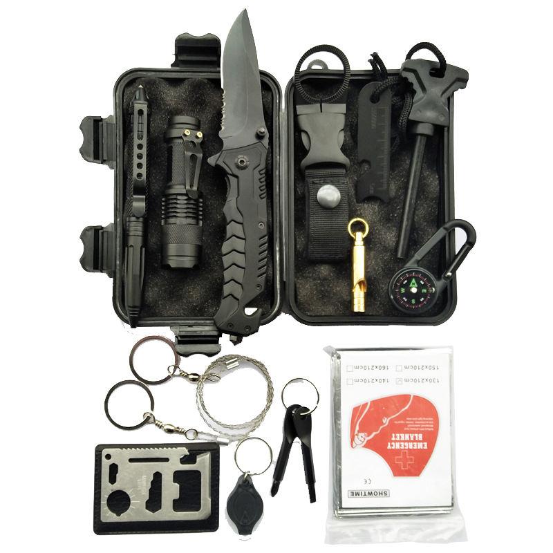 Marque privée équipement de plein air de poche <span class=keywords><strong>Polyvalent</strong></span> taille 14 en 1 trousse d'outils de survie