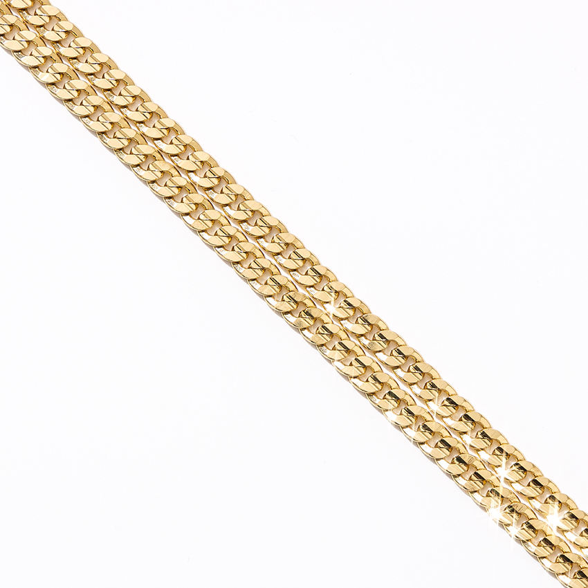gold plated Cuban Link chain stainless steel necklace facet brass chain for women men