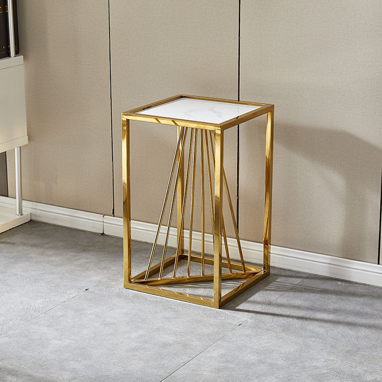 Metal small cube table golden living room table cheap cheap room table