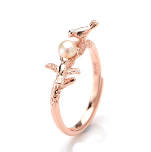 925 Sterling silver Original handmade rose gold นกแหวนไข่มุก