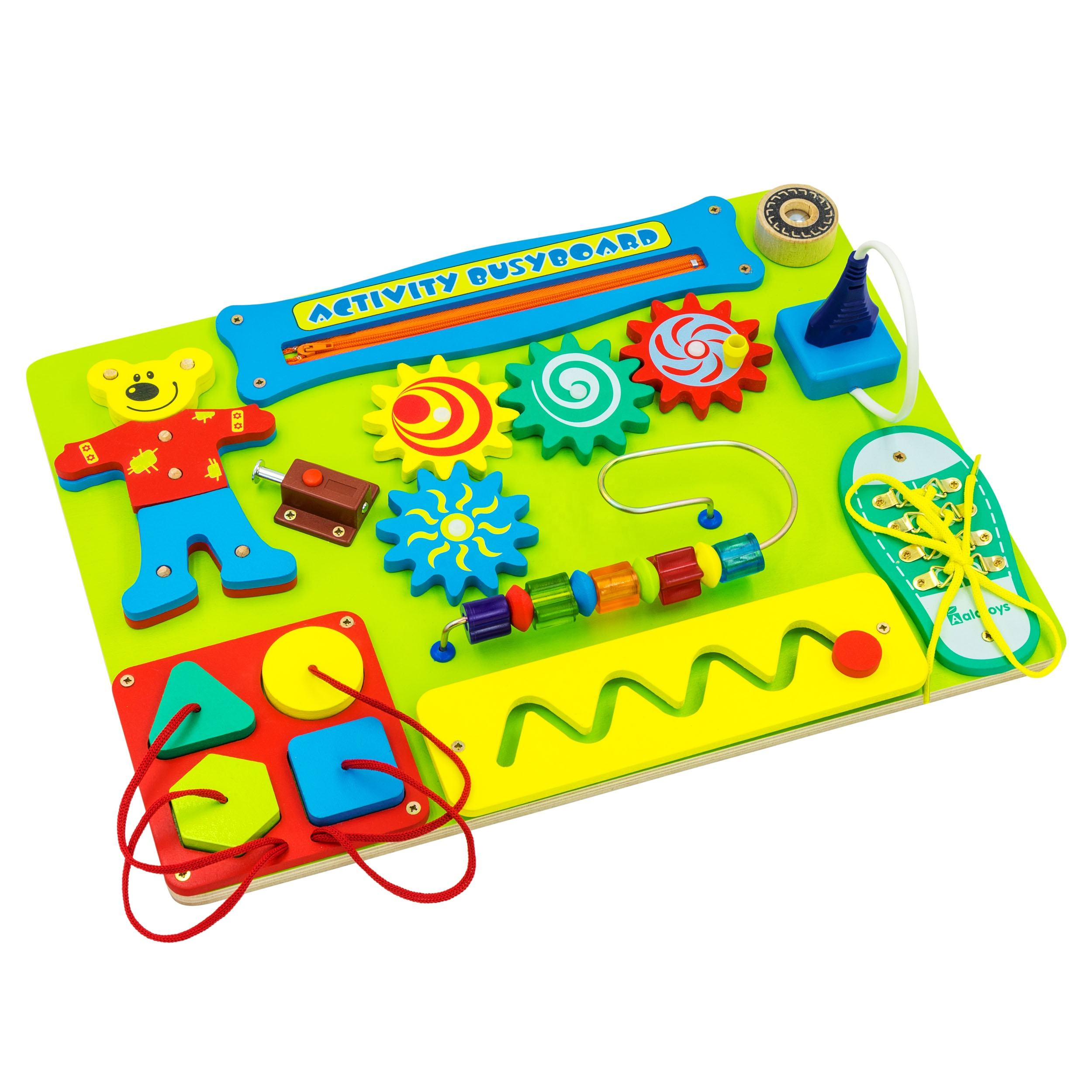 Alatoys Wooden Sensory Busy Board for 2 Year Old Toddlers