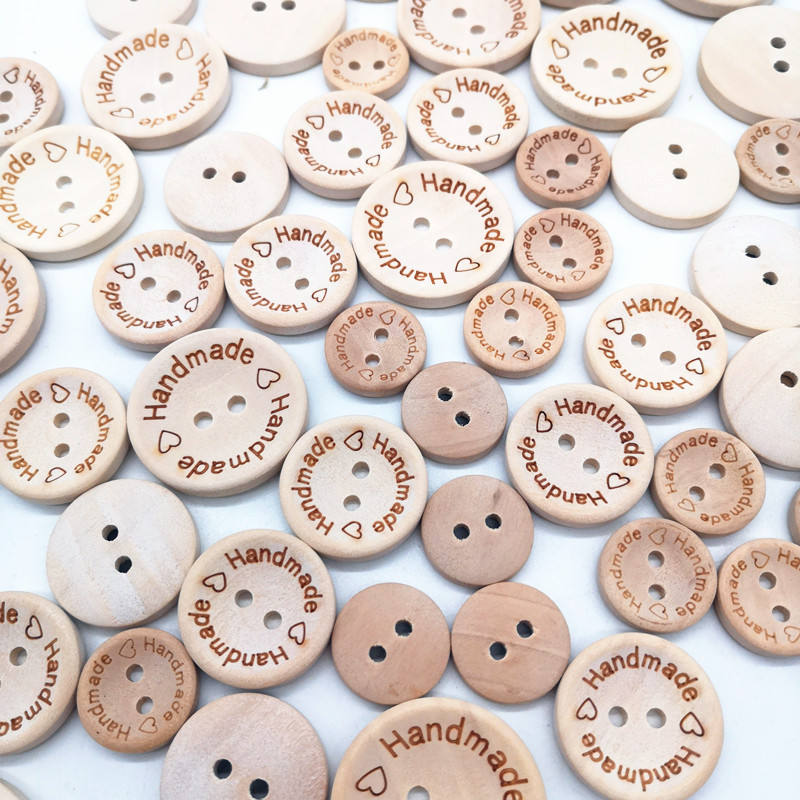 2 Holes Handmade Letters Round Wooden Sewing Buttons