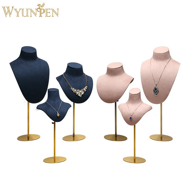 WYP Hot selling Metal Rack Jewelry Display Bust mannequins Metal Support with Suede leather Necklace Busts stand