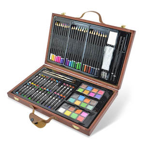 Multi functional Drawing writing deluxe art sets with wooden box for little girls