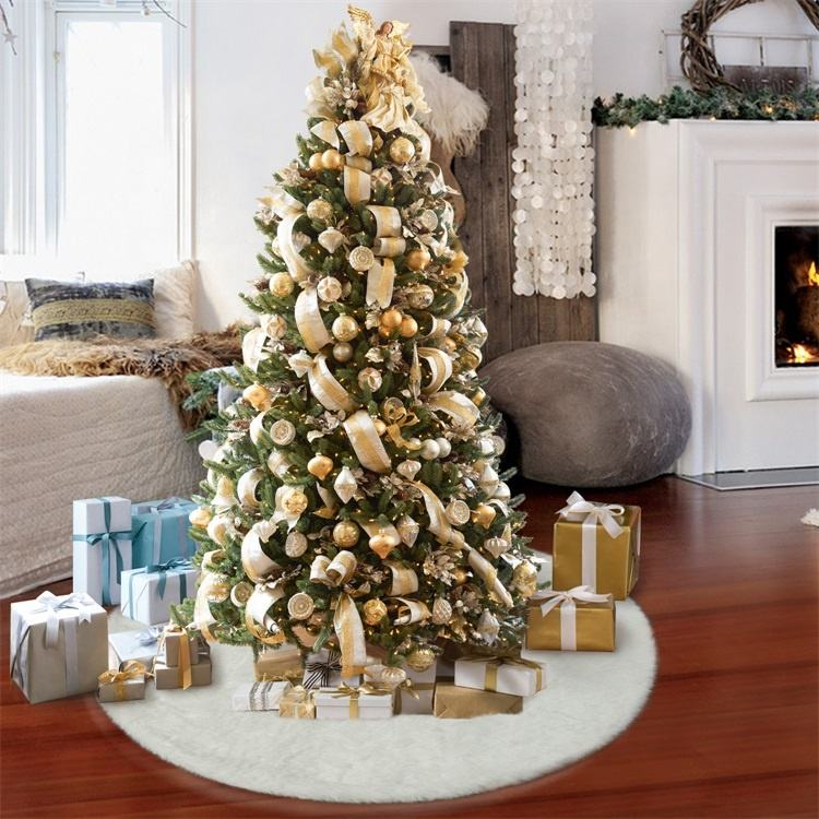 VKTY Christmas Tree Skirt 36inch Sequin Tree Skirts Snowy White Thick Xmas Tree Skirt Thick Faux Fur Embroidered Tree Skirts Christmas Ornaments Holiday Decorations