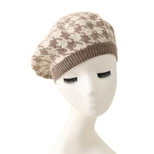 2020 new houndstooth plaid design 100% cashmere material beret hat autumn winter knitted beanies hat