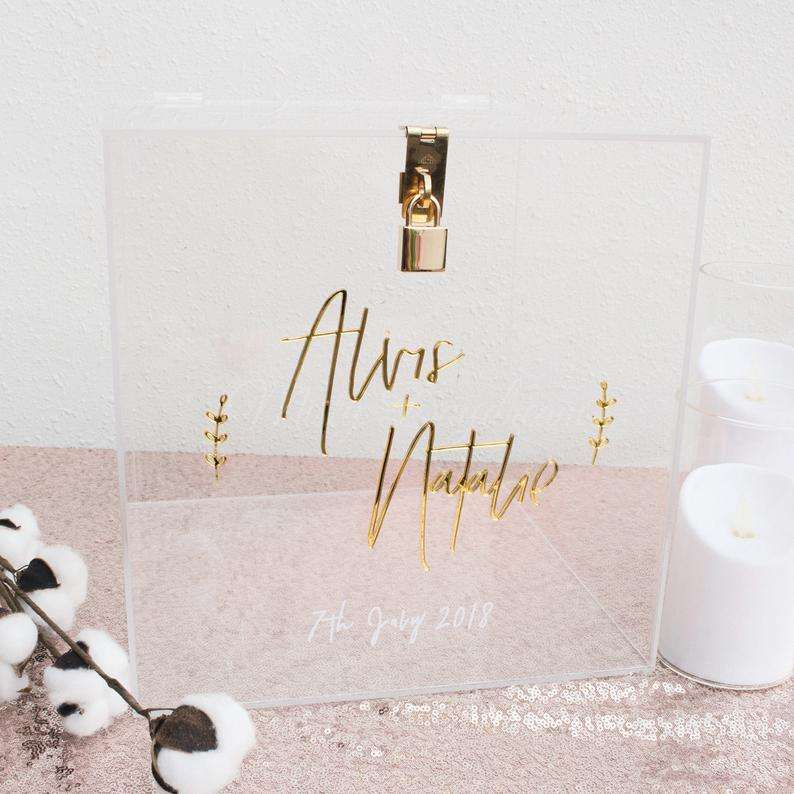Custom Transparent Acrylic Wish Gift Box With Lock Mirror Golden / Sliver Wedding Invitation Storage Box