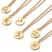 Fabulous Gold Constellations Choker Fashion Round Zodiac Pendant Necklace 100% Stainless Steel 40cm Chain Twelve Zodiac Jewelry