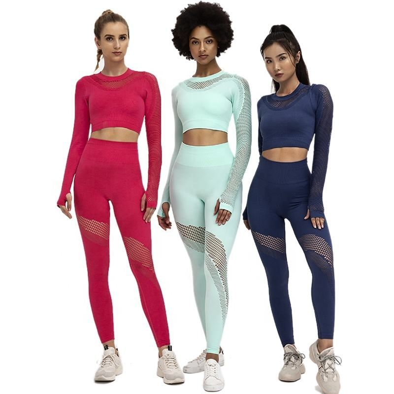 Ptsports wholesale seamless womens athletic apparel 5 colors 2020 new yoga set wear yoga fitness set