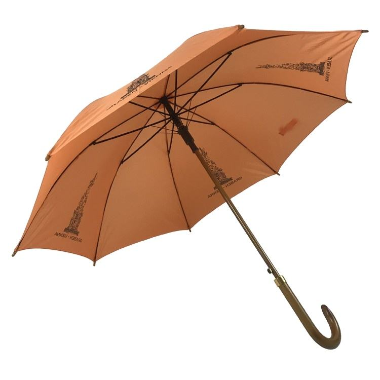 23inch stick parasol auto open nylon fabric brown wooden handle logo print umbrella with logo print