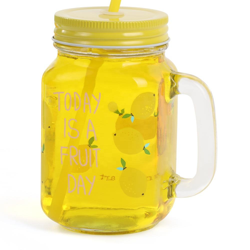 500ml 16oz empty cheap glass mason drinking jars with handle