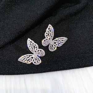 2020 noble butterfly silver color stud earrings