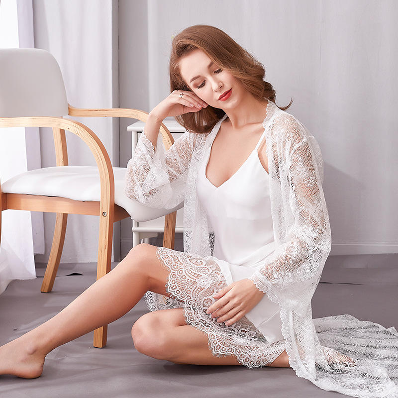 Sexy Lace 2 Pieces Nightwear Silk Spaghetti Strap Luxury Nightdress V Neck Satin Loungewear Femme Chemise