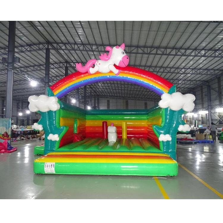 Inflatable Slide Rainbow Kids Commercial Unicorn Inflatable Jumping Castle Combo With Slide For Sale