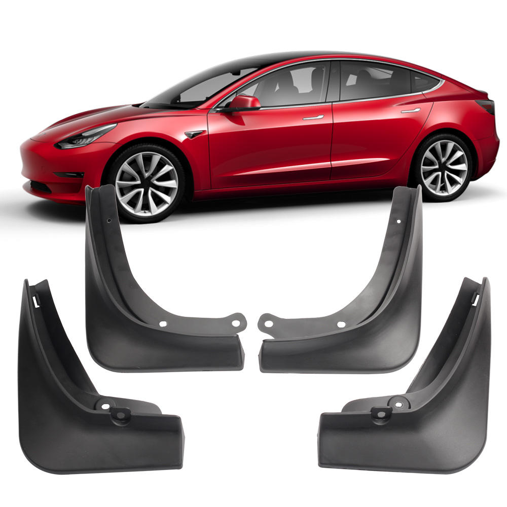 Car Accessories Standard Version Mud Flaps Mudguard No Drilling Black 4pcs In Set Fender For Tesla Model 3