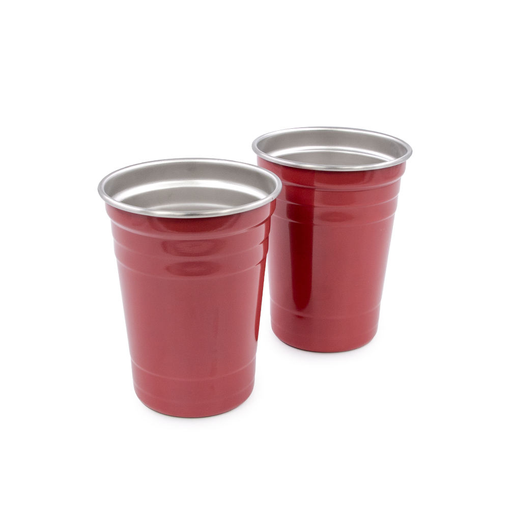 Red Cups for Party 16oz Stainless Steel Cups Premium Drinking Glasses Unbreakable Red Tumblers BPA Free Eco Friendly Party Cups