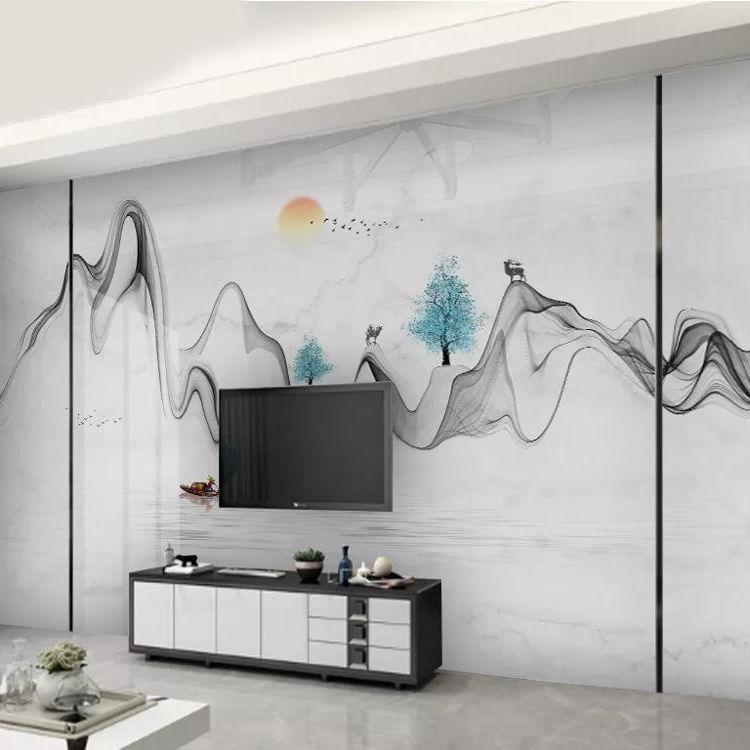 جديد الصينية الحديثة بسيطة رسمت باليد <span class=keywords><strong>الفني</strong></span>ة الجاز الأبيض الجبلية الرخام نمط جدار خلفيات