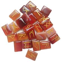 Healing Crystal Rune , Natural Red Agate Engraved Runes Stone , Gemstone Rune Stone Set