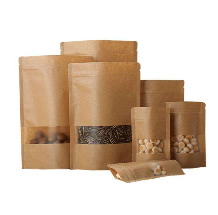 Factory direct price ziplock bags plastic packaging bag with window craft paper packaging