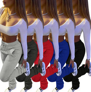 Thick Stacked Joggers Fall Winter Clothing Solid Thick Pants Stacked Sweat pants Thicker Warm Leggings Sweatpants for Women
