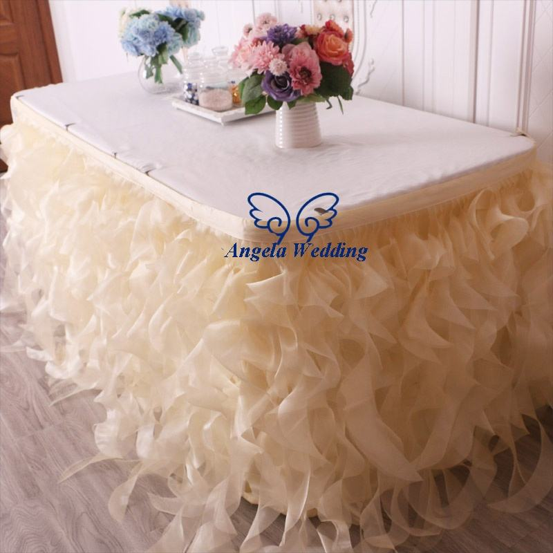 SK010Q baby shower birthday party ready to ship wedding champagne organza curly willow bridal table skirt
