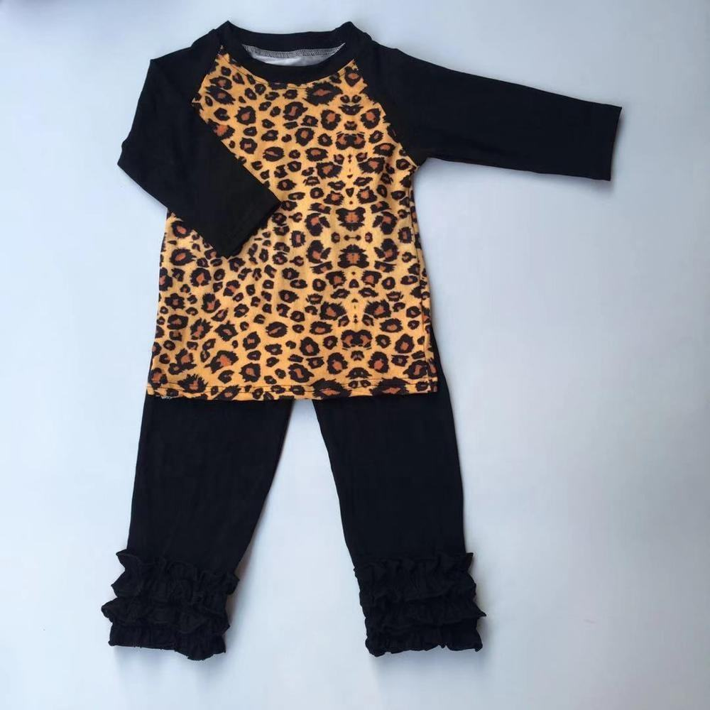 Factory price kids girl ruffle leapord outfit boutique baby girl fall/winter cheetah OEM clothes set girl leapord ruffle set