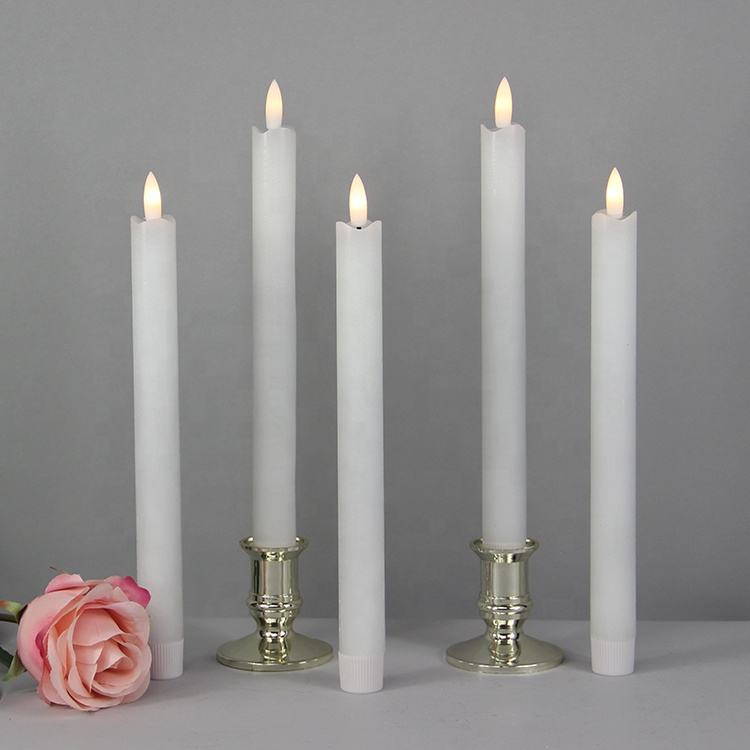 Set of 2 real wax battery operated free shipping led taper candle with new flame