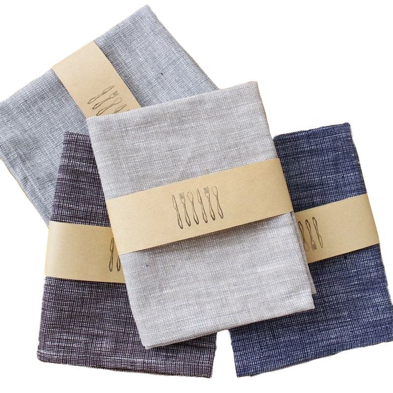 plain color custom logo blank linen cotton kitchen tea towel sets