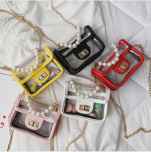 2019 Fashion Kid Summer Clear Purse ,Pearl Handle Children Transparent Rectangle Shoulder Bag Mini Kid Handbag