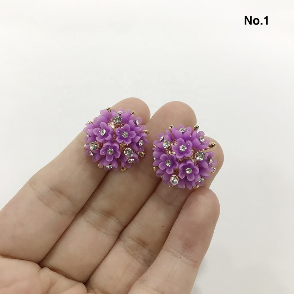 Resin Rhinestone Buttons Rose Flower Coat Decor Buckle DIY Garment Scrapbooking Sewing Accessories