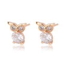 95003 Environmental copper earrings trendy animal design girl's jewelry owl shape stud earrings with gemstone