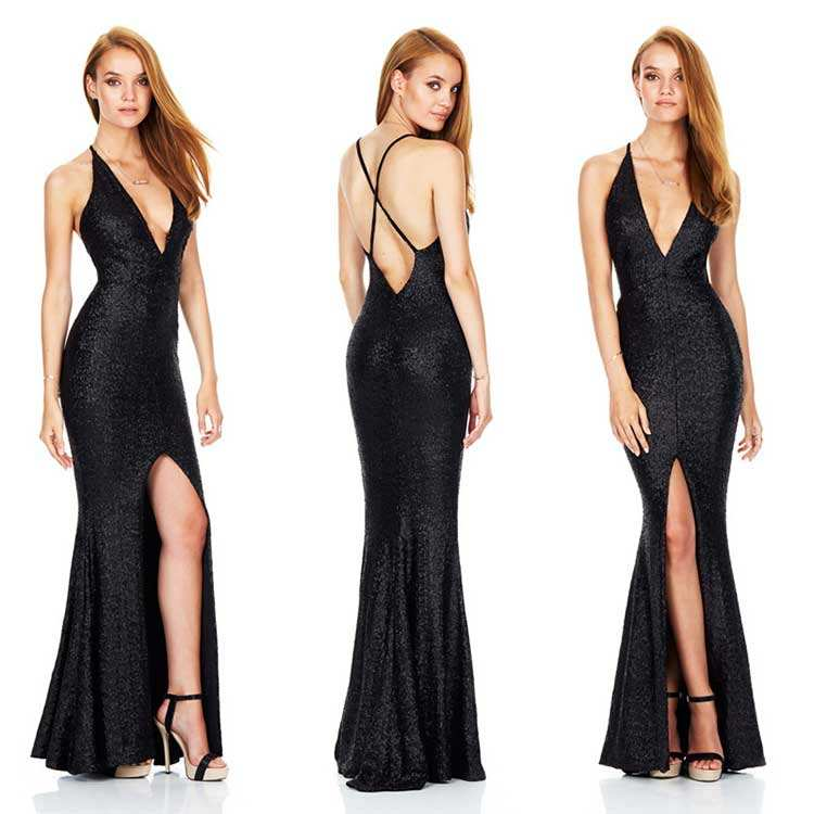 Sexy Black Elegant Long Dress Party Backless Evening sequin dress sexy