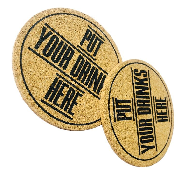 Custom Printing Natural cork coasters for drinks round coaster cork pad