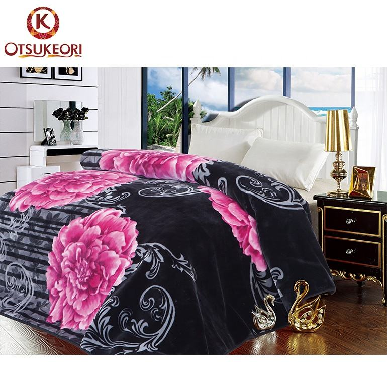Wholesale factory high quality double side printed fashion design 8kg raschel blanket