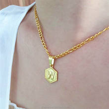 Hexagon Letter Initial Necklace Jewelry alphabet letter pendant Stainless Steel Chain Gold Plated