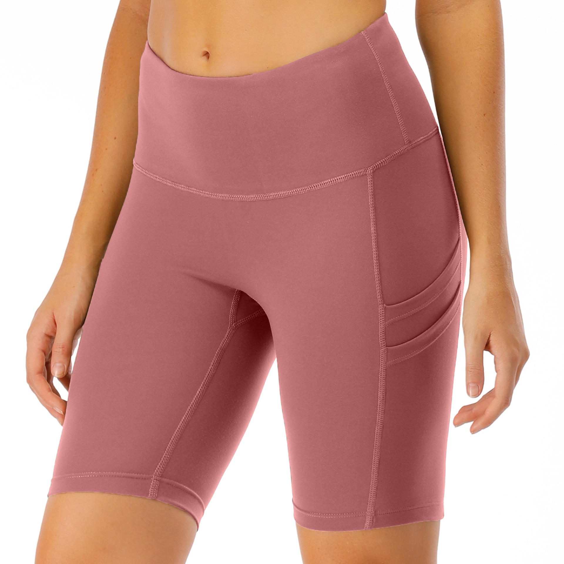 Women's High Rise Compression Running Workout Fitness Biker Shorts
