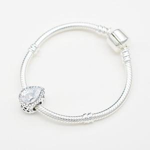 Adodo White Crystal Cubic Zirconia Teardrop Charm Bracelet for DIY Jewelry