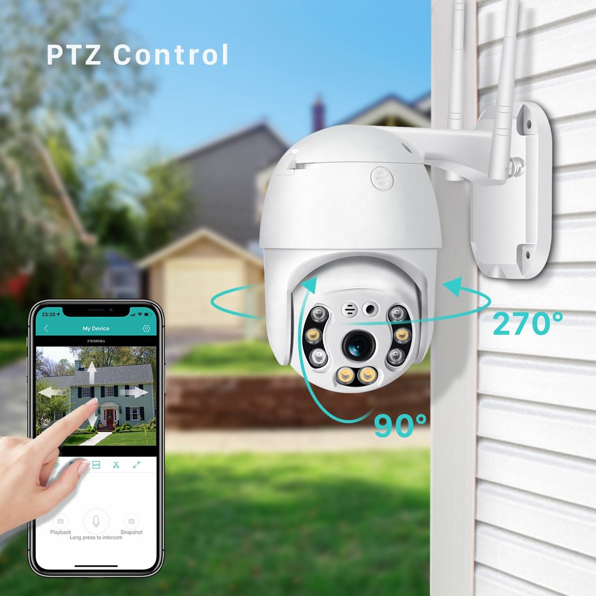 Outdoor 4X Zoom HD 1080P Home Video CCTV Surveillance Wireless WiFi Security IP Camera PTZ Dome with night color vision