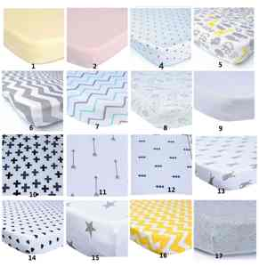 Baby use Custom Size Waterproof jersey printed crib fitted bed sheet