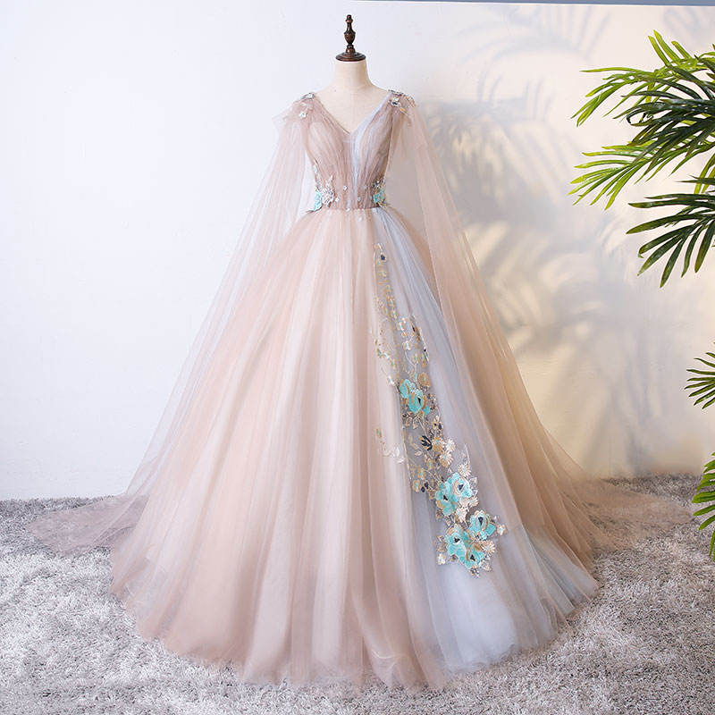 BYFQ033 phụ nữ v neck evening gowns disgners ren 3d flower pattern evening gowns