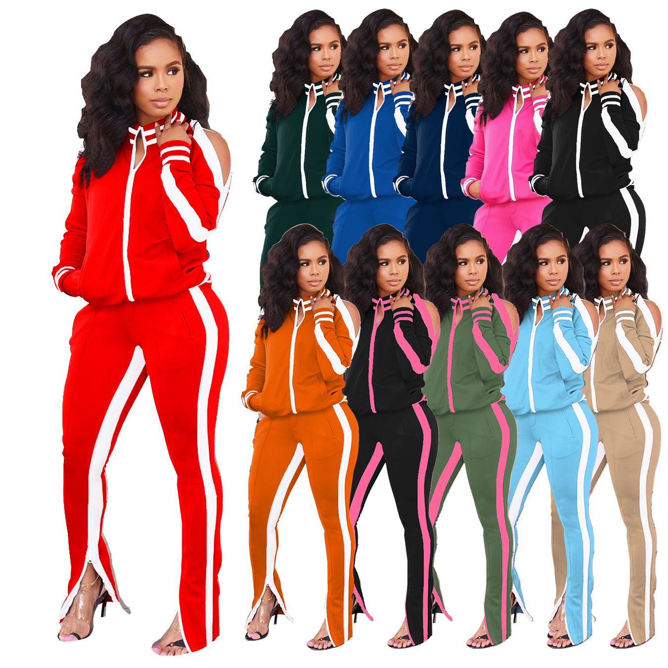 FM-W8055 Wholesale jogging set strapless tracksuits two piece pants set 2020 long sleeve fall clothing