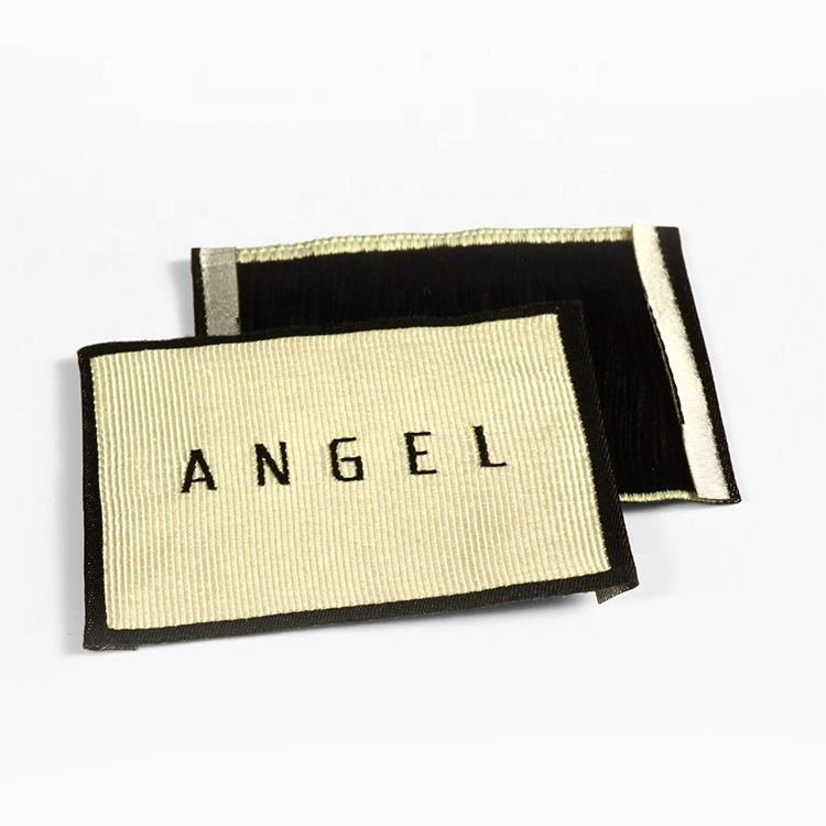 Custom Private Logo Clothes Polyester Damask Woven Label Tags For Garment Clothing