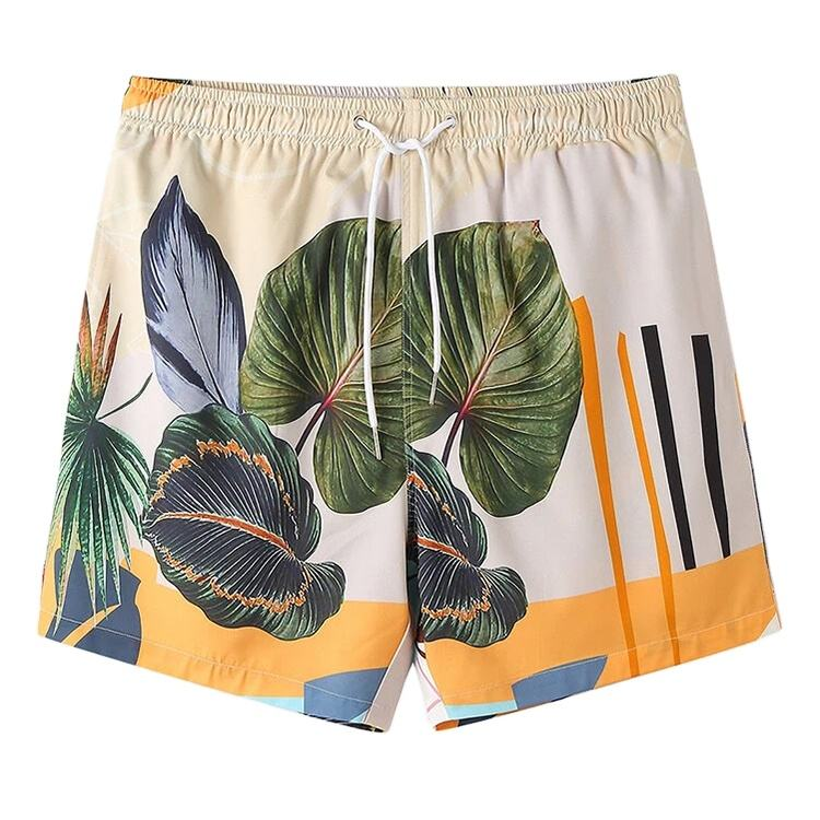 Fashion Designed Mens Short Casual Plants Leaves Printed Tropical Mens Beach Shorts Hot Shorts Elastic Waist Plus Size Floral
