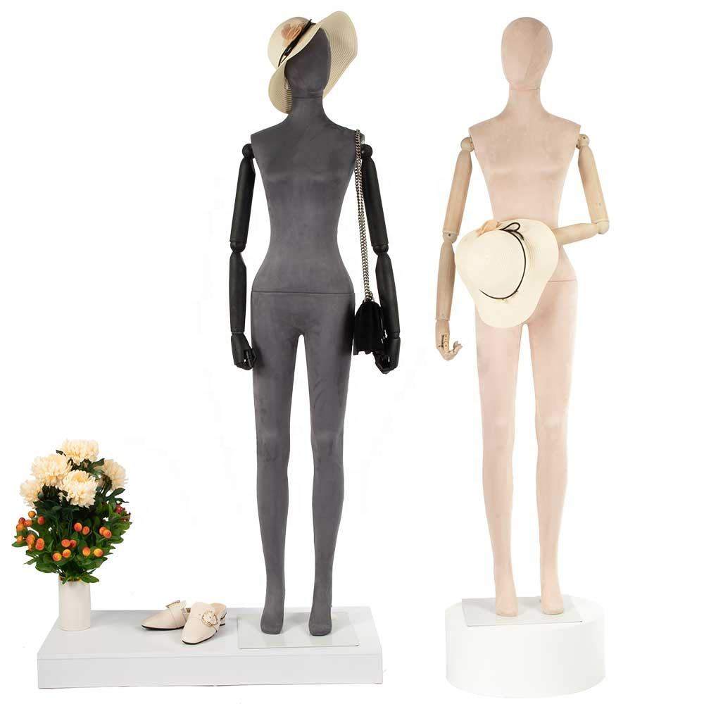 Cheap standing female mannequins with wooden arm